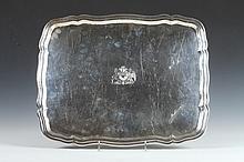 CHILEAN SILVER (900 FINE) SERPENTINE RECTANGULAR SERVING TRAY. - Weight: 68 oz.; 18 1/4 in. x 14 1/2 in.