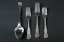 21 PIECES GORHAM CO. STERLING SILVER FLATWARE,