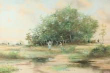 RUEBEN LEGRANDE JOHNSTON (American, 1851-1918). FIGURES ALONG STREAM, signed lower right. Watercolor.
