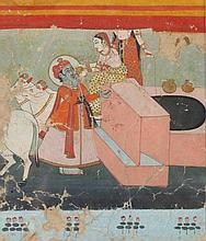 ANONYMOUS (Indian, 18th/19th Century). RADHA KRISHNA, Ink and color on paper, framed.