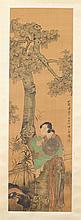 AFTER REN BONIAN (Chinese, 1840-1895). COURT LADY, Ink and color on silk scroll; signed and sealed.