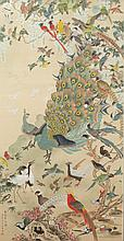 YAN SUNZHI (Chinese, 20th Century). FLOWERS AND BIRDS IN SPRING, Ink and color on paper; signed, sealed and framed.