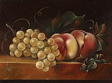 ENGLISH SCHOOL (Early 20th century). STILL LIFE WITH GRAPES AND PEACHES, oil on panel.