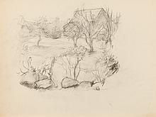 ALLYN COX. (American, 1896-1982). STUDY OF LANDSCAPE WITH BARN, charcoal on paper.