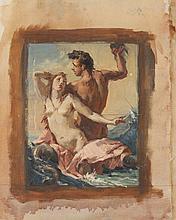 ALLYN COX. (American, 1896-1982). STUDY FOR MYTHOLOGICAL SCENE, oil on canvas.