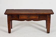 AMERICAN PRIMITIVE CARVED LOW TABLE WITH ONE DRAWER, - 19 1/4 in. x 43 1/4 in. x 13 1/4 in.