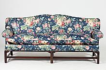CHIPPENDALE STYLE FLORAL-UPHOLSTERED SOFA, with floral pattern fabric on blue ground. - 37 in. x 84 in. x 30 in.