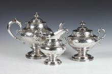 AMERICAN COIN SILVER CREAMER WITH MATCHING TWO-HANDLED COVERED SUGAR BOWL WITH GORHAM STERLING SILVER TEAPOT . Made by Jones, Lows & Ba