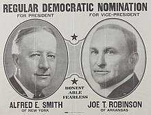 1932ALFRED E. SMITH/JOE T. ROBINSON REGULAR DEMOCRATIC NOMINATION POSTER,. - Framed, 24 3/4 in. x 18 3/4 in.;.