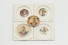 FIVE THEODORE ROOSEVELT PRESIDENTIAL CAMPAIGN BUTTONS,
