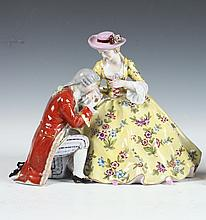 ROYAL VIENNA POLYCHROME PORCELAIN FIGURE GROUP. - H: 7 1/4 in.