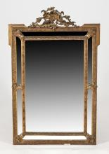 CARVED AND GILT-WOOD PAR CLOS TYPE WALL MIRROR, 19th Century. - H: 51 1/2 in. x W: 31 in.
