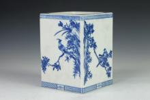 CHINESE BLUE AND WHITE PORCELAIN SQUARE BRUSH POT, BITONG, Jiaqing underglazed blue seal mark. - 8 in. high.