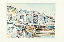 F. RICHARDSON MURRAY (American, 1889 - 1973). BOAT LIVERY, watercolor.