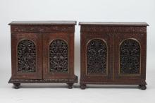TWO INDIAN ROSEWOOD CABINETS. - 34 in. x 34 in. x 11 3/4 in.
