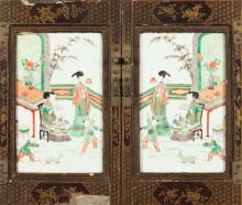 PAIR CHINESE FAMILLE VERTE PLAQUES, late 19th/early 20th century. - 12 in. x 7 1/2 in.
