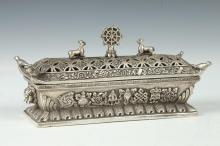 CHINESE SILVERED CENSER. - 8 in. 5/8 in. long.