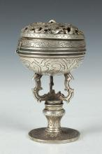 CHINESE SILVERED DRAGON CENSER. - 6 in. high.