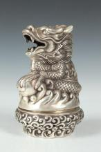 CHINESE SILVERED DRAGON CENSER. - 7 in. high.