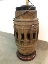 THAI WOOD WHEEL MOUNTED AS LAMP. - 16 1/2 in. high.