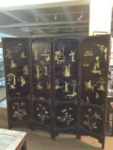 CHINESE IVORY INLAID GILT WOOD FOUR FOLD SCREEN. - 17 1/8 in. x 70 1/2 in.