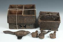 THREE BURMESE WOOD FIGURAL PULLIES AND TWO BETEL BOXES, 19th Century. - Largest: 10 1/4 in. x 10 5/8 in.