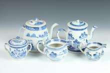 TWO CHINESE CANTON BLUE AND WHITE PORCELAIN COFFEE POTS, SUSAR AND TWO CREAMERS, 19th Century. - Largest: 6 1/2 in. high.
