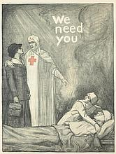 FRAMED ALBERT STERNER AMERICAN RED CROSS LITHOGRAPH POSTER, WE NEED YOU, Sterner, Albert (1863-1946). Circa 1918. American Lithographic