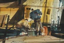 CARL MOLNO. (American, 20th century). FISHERMAN'S WHARF, signed lower left.