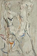PIETRO LAZZARI. (Italian/American 1898-1979). MAN ON HORSE, signed lower right, painted concrete.
