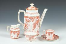 ROYAL CROWN DERBY TEA SET IN THE RED AVES PATTERN, 20th Century.