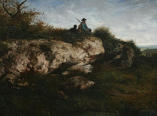 NICOLAS LOUIS CABAT (French, 1812-1893). LE CHASSEUR, signed lower right. Oil on board.