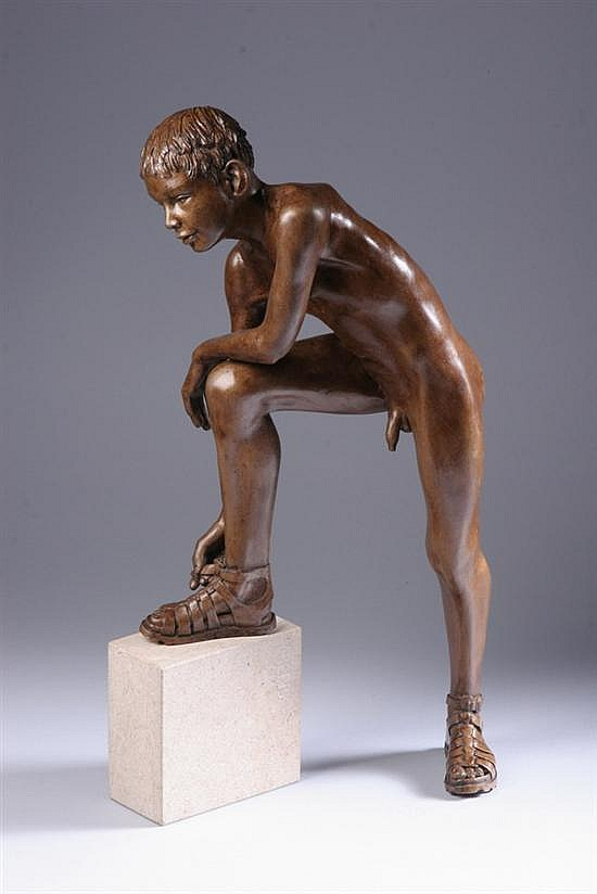 WIM VAN DER KANT (Dutch, b. 1949). CREPIS, signed and inscribed on base. Bronze with a golden-brown patina.