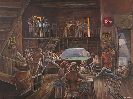 ERNIE BARNES (American, b. 1939). BUBBA'S BILLIARD ROOM, signed lower right; also titled on stretcher. Oil on canvas.
