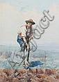 DOMENICO DE ANGELIS (Italian, 1852-1904). MAN DIGGING, signed and located