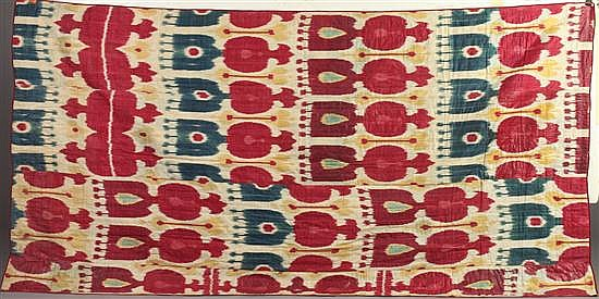 UZBEKISTANI SILK COTTON IKAT PANEL. 19th century. - 95 in. x 49 in.