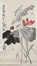 AFTER QI BAISHI (Chinese, 1864-1957). DRAGONFLY AND LOTUS FLOWER, Ink and color on paper scroll; signed and sealed.