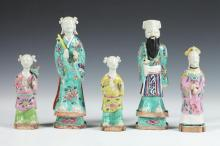 FIVE CHINESE FAMILLE ROSE PORCELAIN FIGURES, Late 19th/early 20th Century. - 7 7/8 in. high.