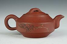 CHINESE YIXING TEA POT, Wu Shouchuan maker's mark. - 6 in. long.