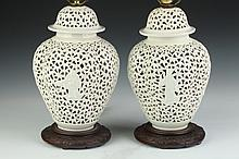 PAIR CHINESE BLANC-DE-CHINE RETICULATED QUATREFOIL VASES AND COVERS. - 12 in. high.