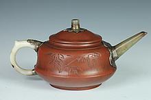 CHINESE YIXING AND JADE TEA POT, Yu Xishan maker's mark. - 7 in. long.