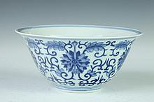 CHINESE BLUE AND WHITE PORCELAIN BOWL, Guangxu six-character underglazed blue mark. - 5 7/8 in. diam.