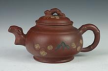 CHINESE YIXING TEA POT, Four character maker's mark. - 7 in. long.