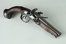 DECORATIVE DOUBLE-BARREL PERCUSSION PISTOL IN THE ANTIQUE STYLE.