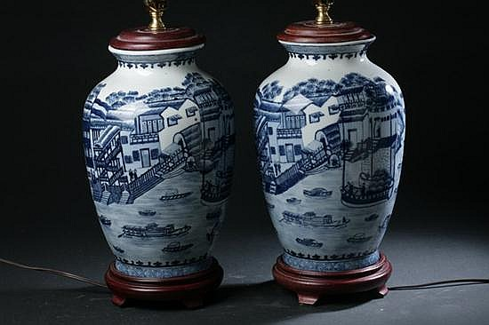 PAIR CHINESE BLUE AND WHITE PORCELAIN VASES. - 12 in. high.