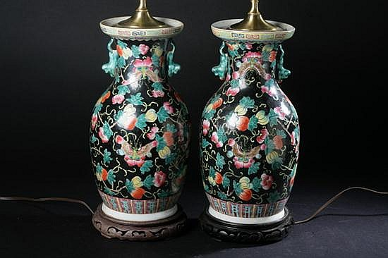 PAIR CHINESE FAMILLE NOIRE PORCELAIN VASES. - 14 1/2 in. high.