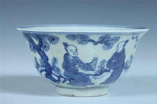 CHINESE BLUE AND WHITE PORCELAIN BOWL, Jiajing underglazed blue six character mark. - 5 1/2 in. diam.