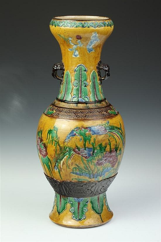 CHINESE FAMILLE ROSE PORCELAIN VASE, Qianlong seal mark, 19th Century. - 22 in. high.