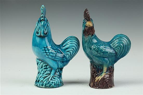 TWO CHINESE TURQUOISE PORCELAIN FIGURES OF COCKEREL. - 6 3/8 in. high.