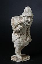 CHINESE POTTERY FIGURE OF JEWISH TRAVELER, Tang Dynasty. - 9 1/4 in. high.
